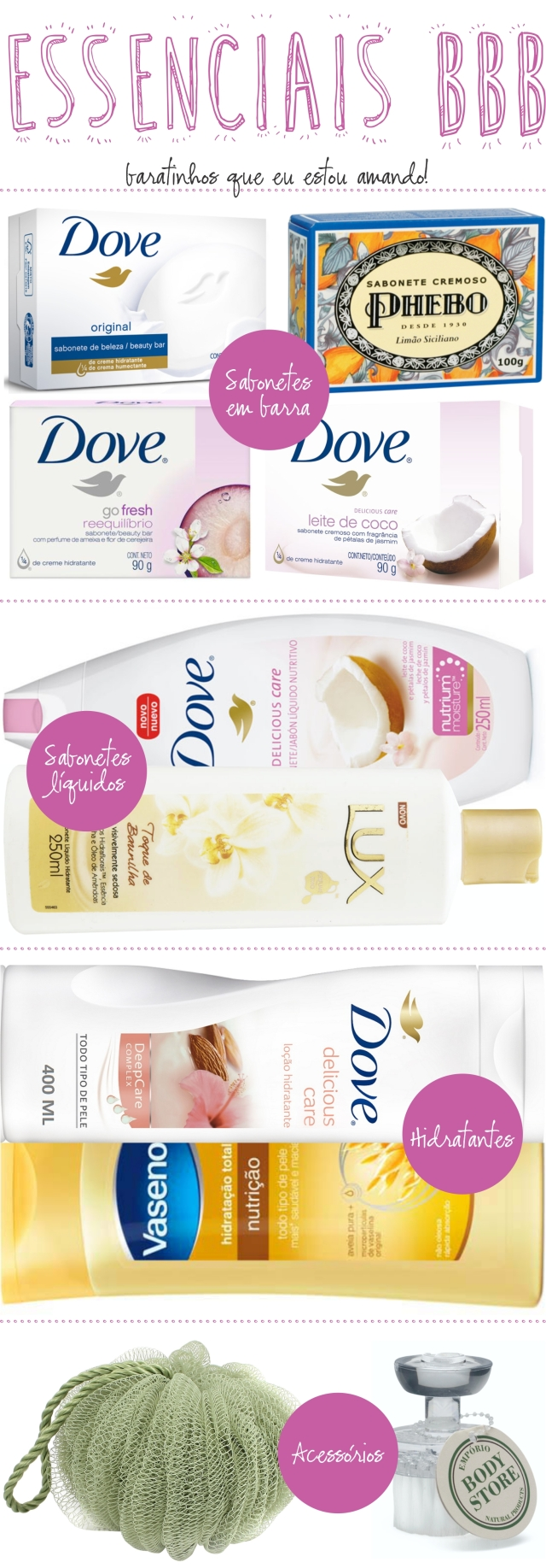 Beauty Drops | Essenciais BBB: Hora do Banho | Dove, Lux, Vasenol, QVS e The Body Store